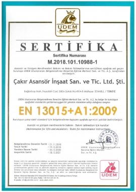 EN 13015+A1:2009 Belgesi
